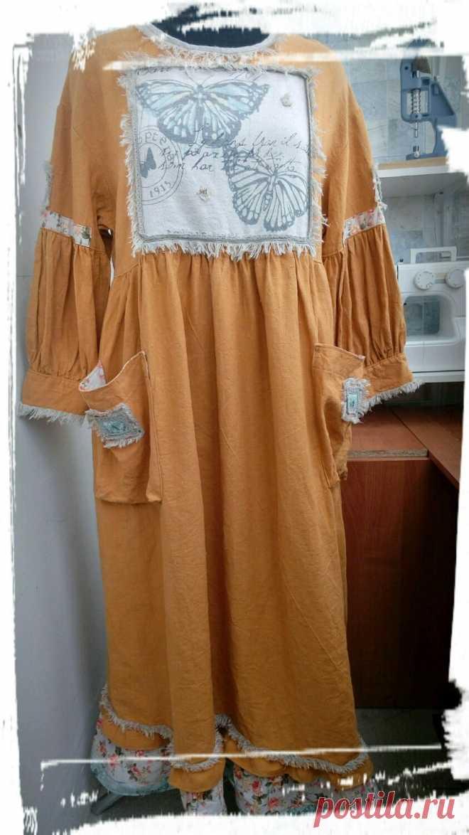 Платье изо льна горчично-медового цвета