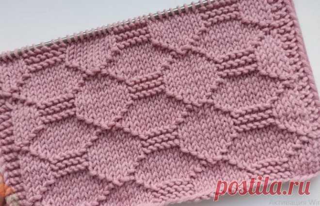 Рельефный, простой узор спицами для вязания кардигана, джемпера, свитера, шапки