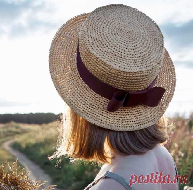 Как связать шляпку-канотье своими руками