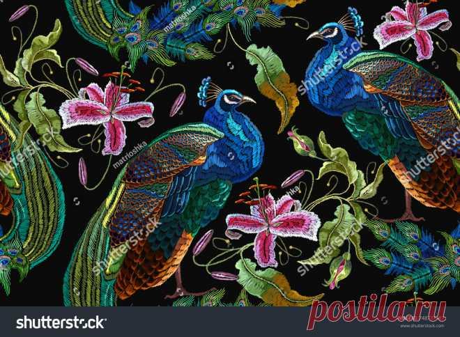 Bird Embroidery: imágenes, fotos de stock y vectores | Shutterstock