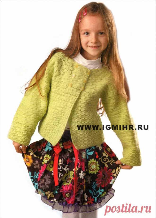 Нарядный жакет светло-зеленого цвета с цветком, для девочки 6 лет. Крючок
