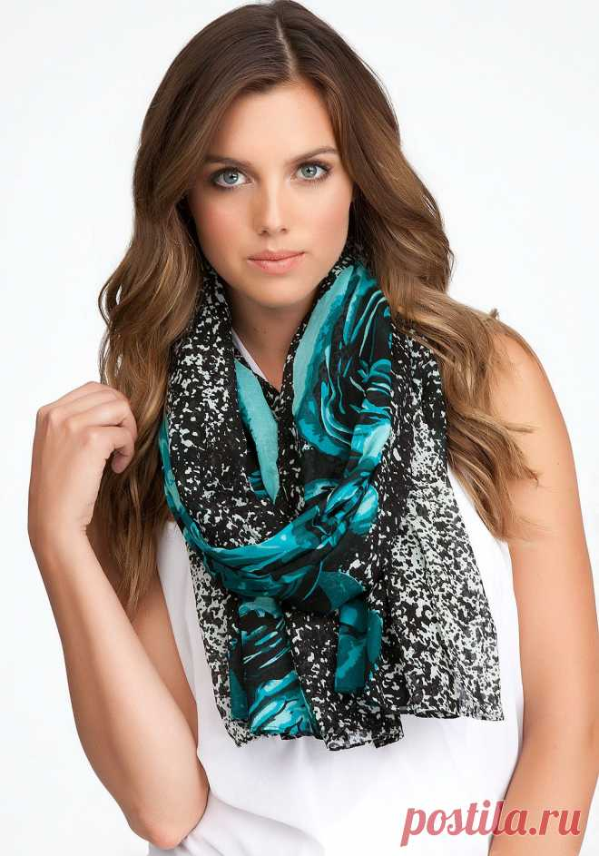 bebe | Rose Mixed Media Scarf - Hats & Scarves