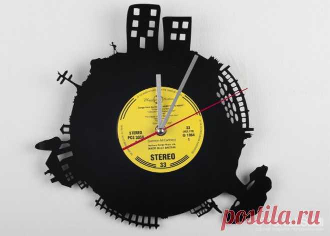 Часы из виниловой пластинки «Вечерний город» купить подарок в ArtSkills: фото, цена, отзывы