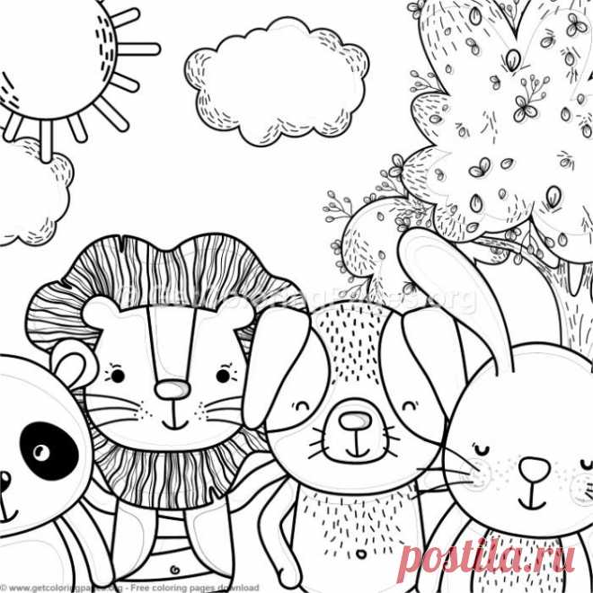 Panda, Lion, Dog and Bunny Forest Animals Coloring Pages – GetColoringPages.org