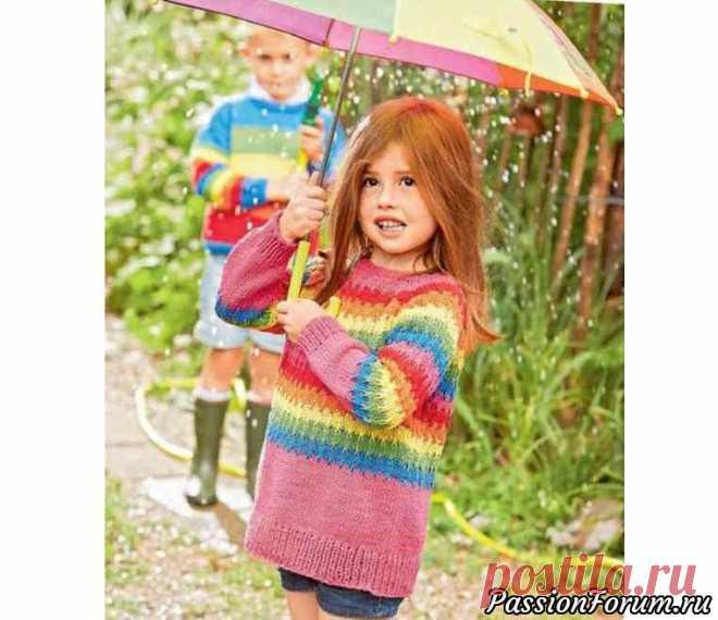 Разноцветный пуловер для девочки - запись пользователя Молодая бабуля (Светлана) в сообществе Вязание спицами в категории Вязание спицами для детей Этот пуловер для девочки в свободном стиле связан разноцветной пряжей узором в полоску. Пуловер подарит хорошее настроение, поэтому его можно носить круглый год.