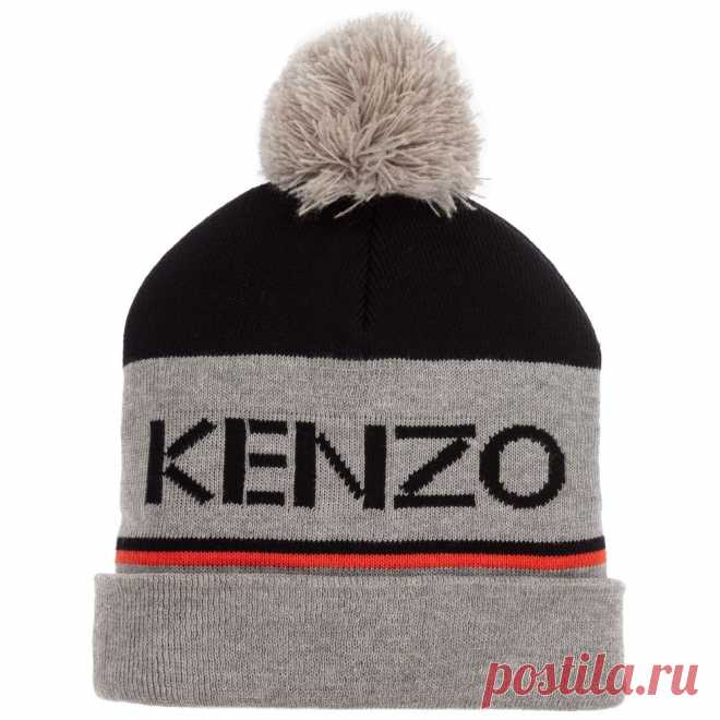 Boys Grey Cotton Knitted Hat Boys grey and black cotton beanie hat by Kenzo Kids, knitted in double layers with a black logo in the middle. There are black and orange stripes and a grey pom-pomon the top.