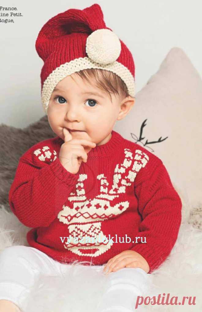Пуловер с жаккардом и вышивкой - Для детей до 3 лет - Каталог файлов - Вязание для детей