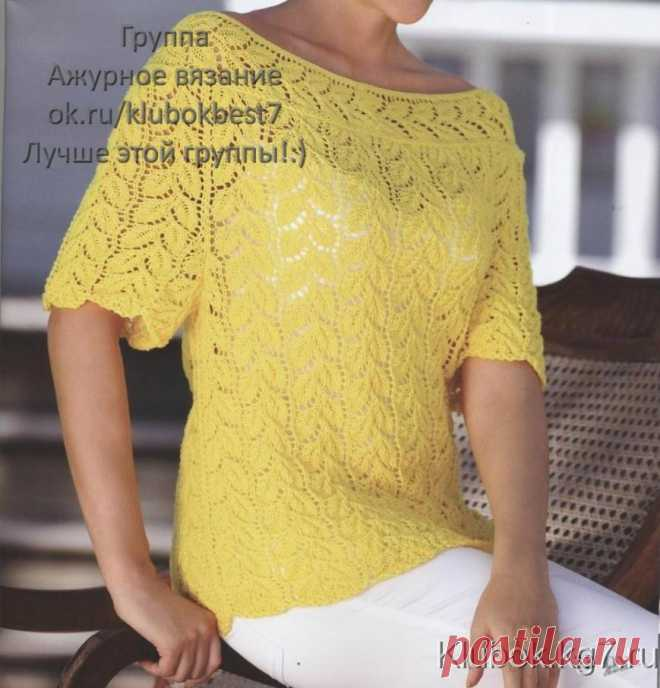 "Ажурный пуловер "" Осенний листопад"" | Клубок"