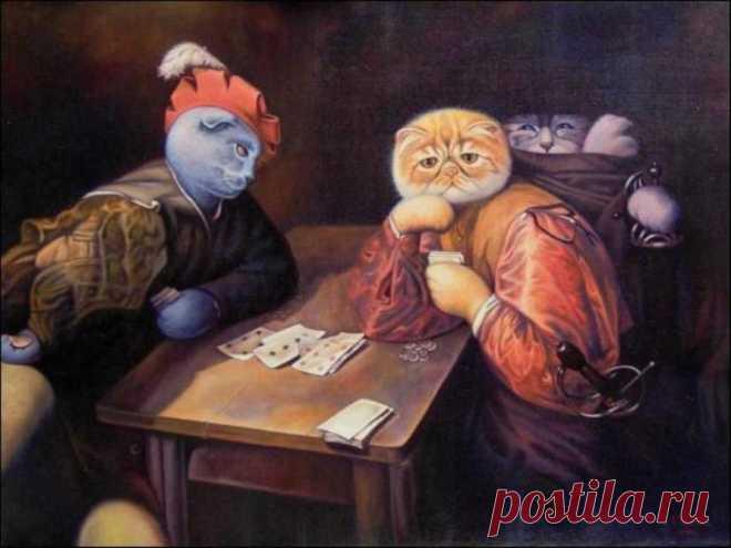 Люди-кошки на картинах: Очаровательные мурлыки, которые примерили на себя человеческие роли