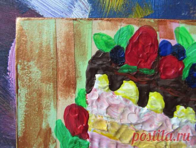 Cake Painting Dessert Art Kitchen Decor Food Impasto Acrylic | Etsy