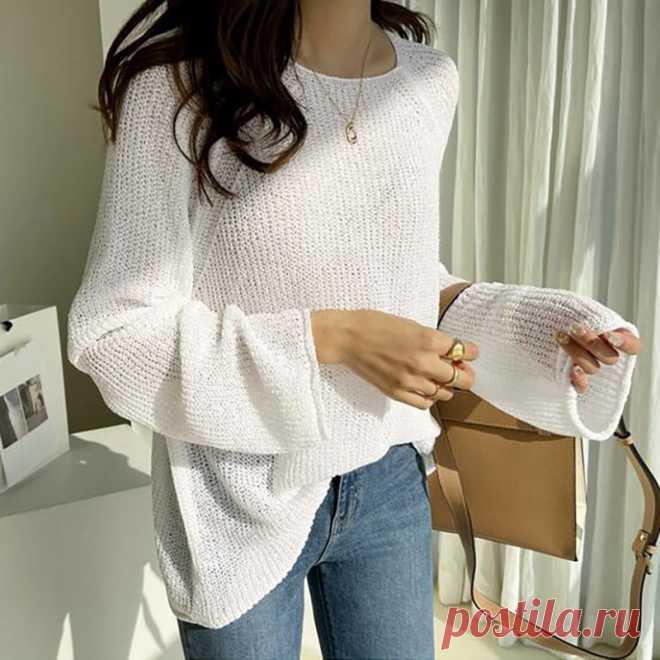 Осенний вязаный свитер с длинным рукавом, однотонный Свободный пуловер с круглым вырезом, повседневная женская одежда, уличные женские топы