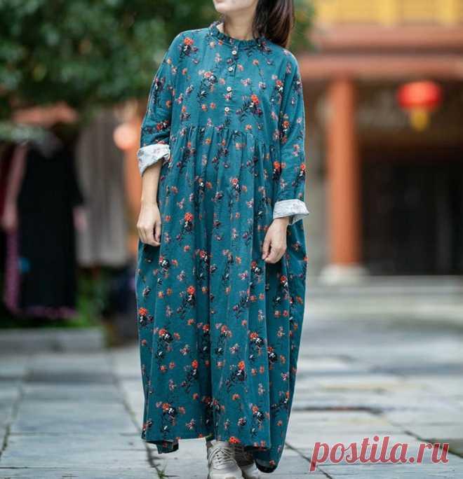 Women Cotton long dresses plus size boho maxi dress skater | Etsy