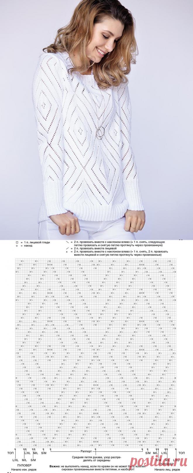 El saltador hípico elegante blanco - el esquema de la labor de punto por los rayos. Tejemos los Saltadores hípicos en Verena.ru