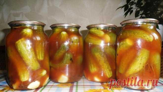 Огурцы в томатном соусе на зиму