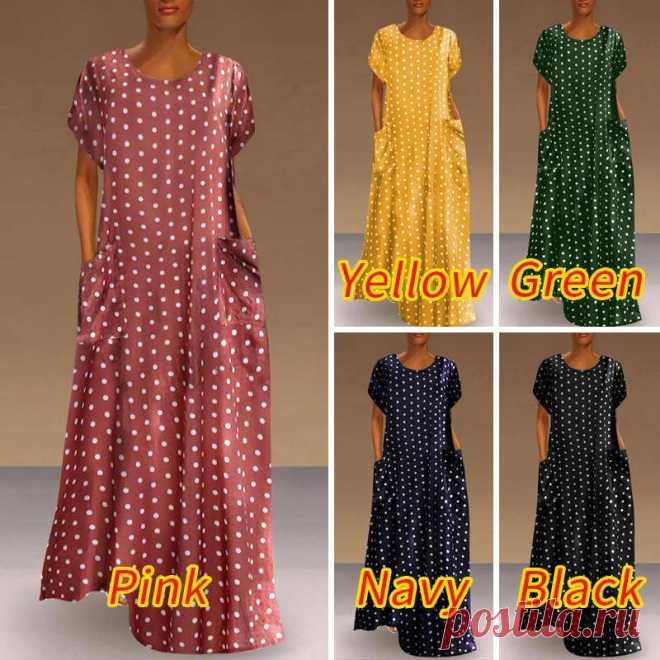 Винтажное платье VONDA в горошек, Макси Сарафан с принтом для женщин 2021, летнее платье с карманами, повседневное длинное вечерние с круглым вырезом, вечернее платье|Платья| | АлиЭкспресс