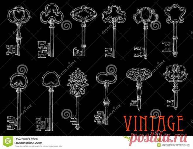 Эскизы мела винтажных ключей на классн классном Иллюстрация вектора - иллюстрации насчитывающей антиквариаты, конструкция: 70813166