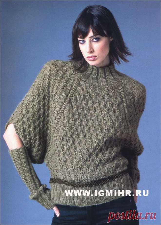 Коричневый свитер и митенки, от Schachenmayr Select.