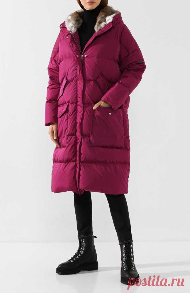 Женский розовый пуховик с меховой отделкой капюшона LEMPELIUS — купить за 72350 руб. в интернет-магазине ЦУМ, арт. 3000/276R