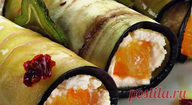 Рулетики из баклажанов с рикоттой и апельсином, пошаговый рецепт с фото