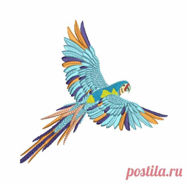 Paraíso de selva loro plumas máquina bordado diseño bohemio patrón ...