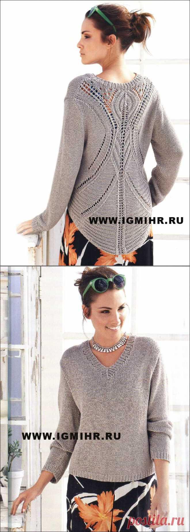 Классический серо-коричневый пуловер с V-образным вырезом и очень эффектной спинкой, от Lana Grossa. Спицы
