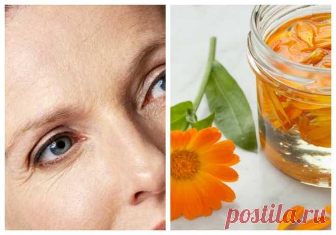 Уход за лицом. Настой календулы помогает при возрастных изменениях кожи