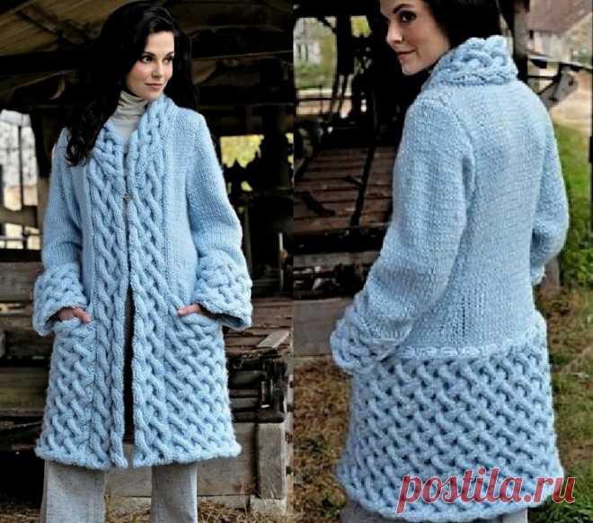 вязаные спицами пальто со схемами описанием фото и видео мк