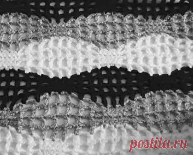 Волнистый узор крючком с сеткой - описание и схема вязания