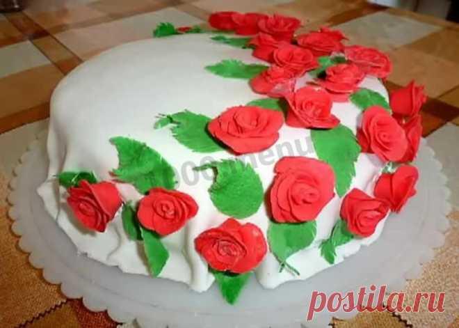 Торт с розами из мастики рецепт с фото пошагово и видео - 1000.menu
