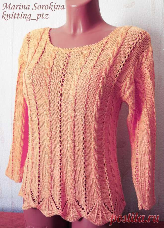 Пуловеры с вертикальным ажурным узором спицами