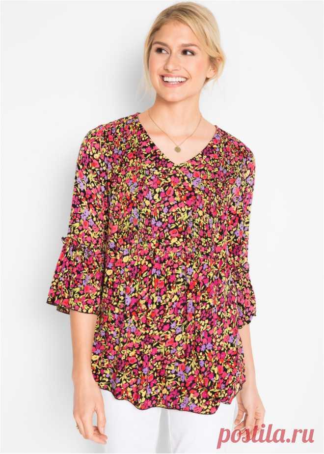 Блузка из крепа, дизайн Maite Kelly черный в цветочек - Для женщин - bonprix.ru