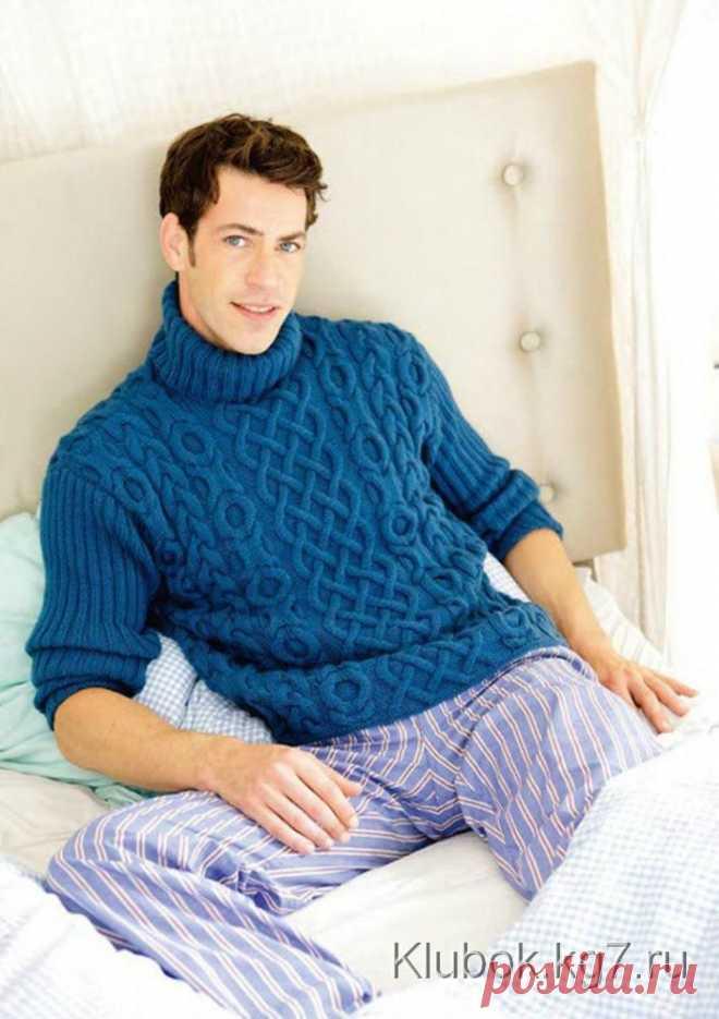 Обалденный мужской свитер с рельефным узором