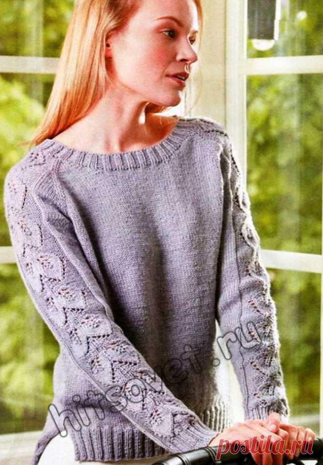 пуловер реглан с ажурными рукавами хитсовет вязание спицами для