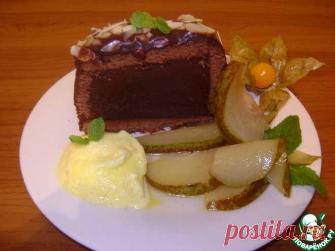 Шоколадная маркиза с грушами-фламбе Кулинарный рецепт