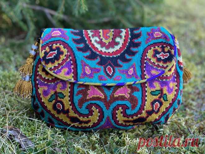 Medium Gusseted Embroidered Crossbody Handbag Tribal Silk | Etsy