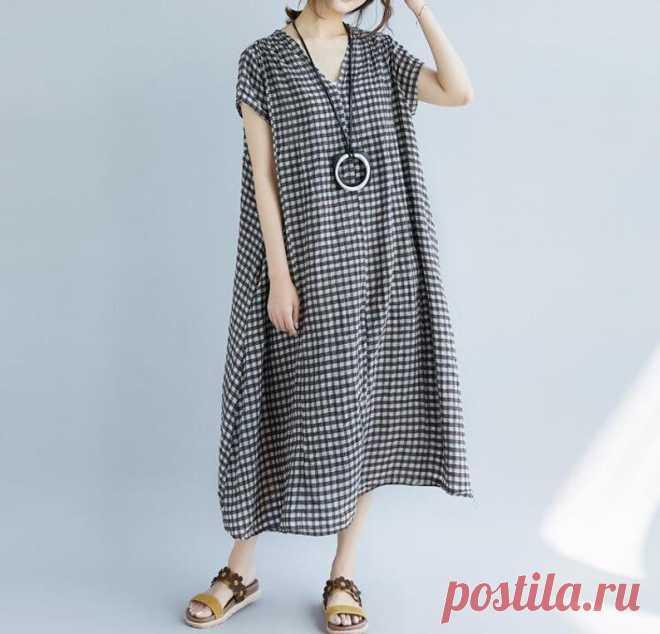 Plaid dress Linen Dresses Cotton Dresses Loose Dresses | Etsy