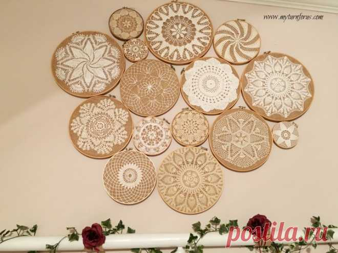 Vintage Crochet Doilies on Embroidery Hoops Collage - My Turn for Us