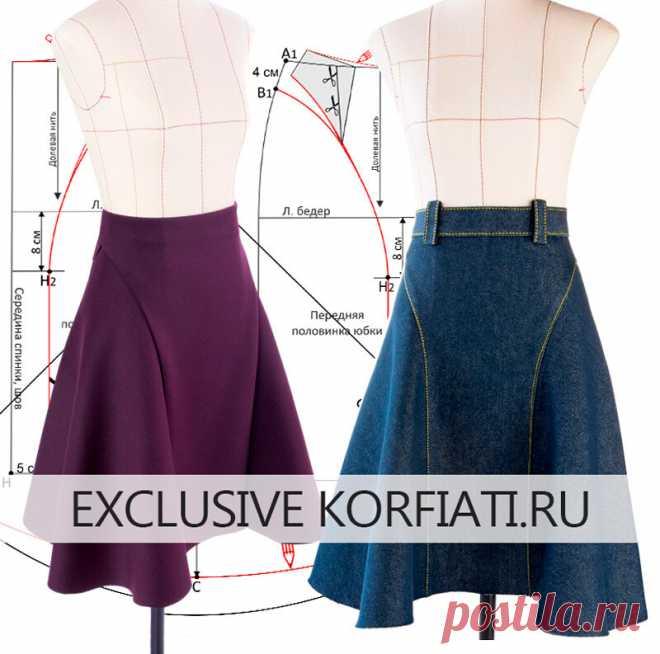 Моделируем и шьем расклешённую юбку миди  https://korfiati.ru/2020/10/modelirovanie-raskleshennoj-yubki/  Расклешённые юбки не только очень элегантны, но и подходят практически для любых типов женских фигур. В этом уроке мы решили предложить вам смоделировать выкройку расклешенной юбки длиной миди с боковыми вставками объемом четверть солнца. Немаловажной особенность этой модели является то, что, сшитая из разных материалов, такая юбка может выглядеть совершенно по-разному...