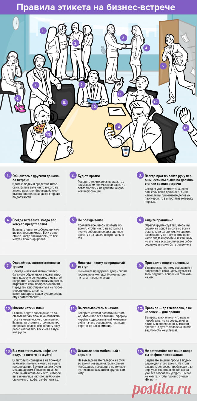 Инфографика: 15 правил этикета для бизнес-встречи