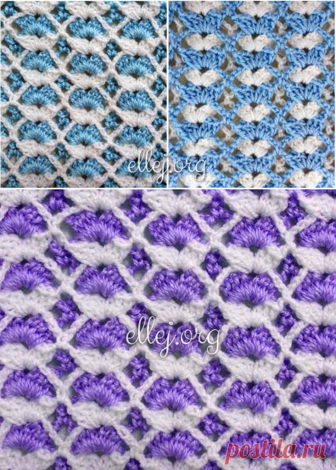 Двухцветный бело-голубой узор для детского пледа   Вязание крючком от Елены Кожухарь
