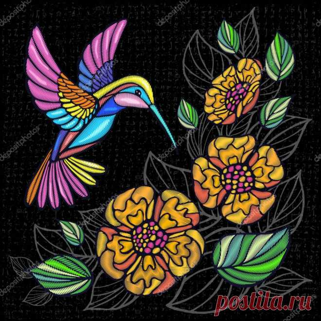 Вышивка Колибри, пальмовые листья, цветы тропические художественные нашивки. Модная вышивка на летнем фоне. Шаблон дизайна одежды, футболки. Ручной вектор . #197724226 - Ларасток