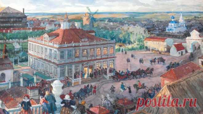 Александр Бенуа, «В Немецкой слободе. Отъезд царя Петра I из дома Лефорта», 1909 г.