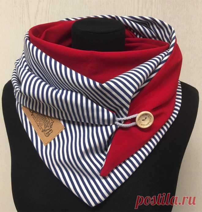 Треугольный шарф с пуговицей
