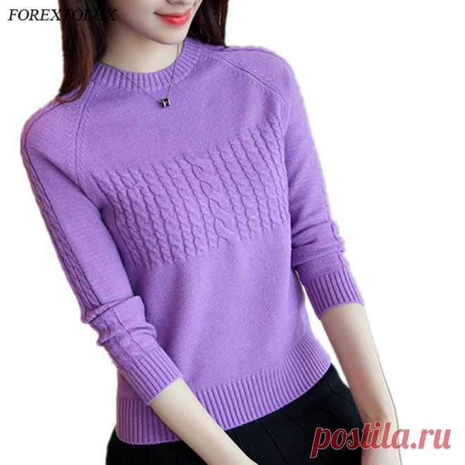 Forextolux 2020 осень зима корейский новый женский Лавандовый свитер однотонный круглый вырез базовый вязаный пуловер женский модный реглан трикотаж|Водолазки| Детские жаккарды| реглан спицами | готовые выкройки |