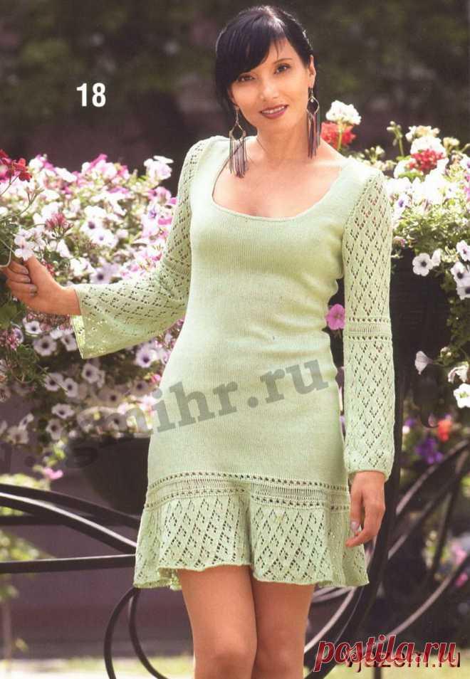 c825b2b6b38 Светло-зеленое вязаное женское платье