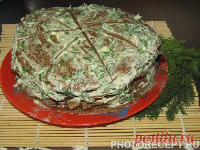 Торт из куриной печени с разными прслойками - рецепт с фото пошагово