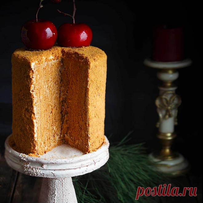 Карамельный вертикальный медовик - пошаговый рецепт с фото