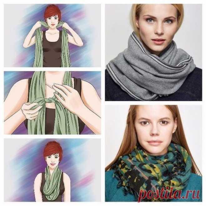 Картинка, как красиво завязать шарф картинки по шагу
