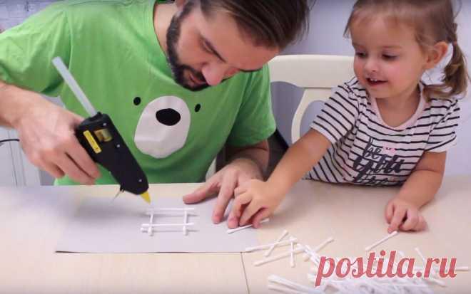 Как сделать домик из ватных палочек? Поделка в детский сад | dadknowhow. С папой интересно | Яндекс Дзен