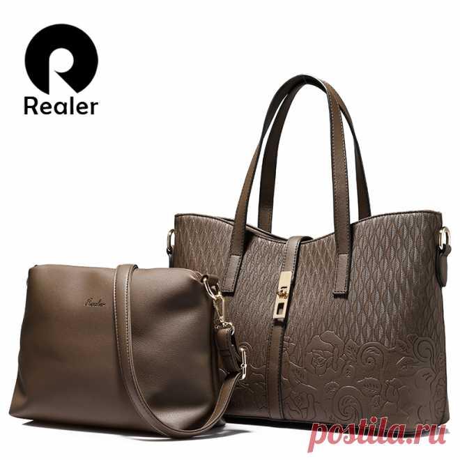 0e485db368bf REALER бренд модная женская сумка высокого качества, дамская сумка с  тиснением для носки в руке
